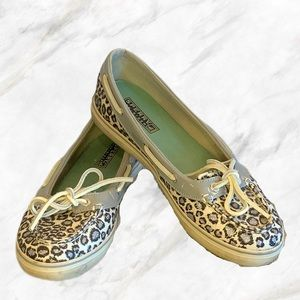 Sperry | Sparkly Silver Cheetah Print Top Siders